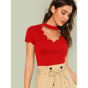 Red Mock Neck Scallop Trim Tee