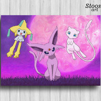 espeon pokemon art poster jirachi mew pokemon birthday