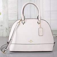 Coach Newest Trending Women Stylish Leather Shell Bag Handbag Shoulder Bag Crossbody Satchel All White