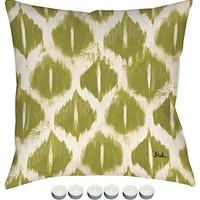 """Manual Woodworkers SLCI4G Colorful Ikat Green Climaweave Outdoor Indoor Pillow 18""""x18"""" with 6-Pack of Tea Candles"""