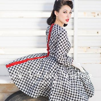 Currently Sold Out -Le Palais Vintage - 40's, 50s Black Gingham Circle Swing Rockabilly Dress (xs - 4xl)
