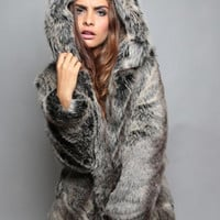 Faux Fur Bear Pattern Hooded Coat