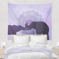 Elephant Love Tapestry Purple and Black with Pink Lotus Flower Elephant Wall Hanging Art Boho Decor
