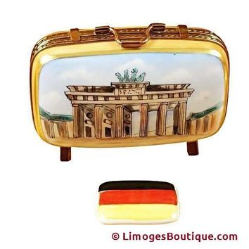 German Travel Suitcase With Flag Limoges Box