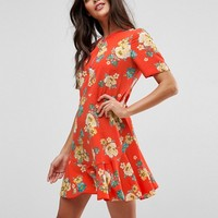 ASOS Drop Waist Dress in Red Floral Print at asos.com