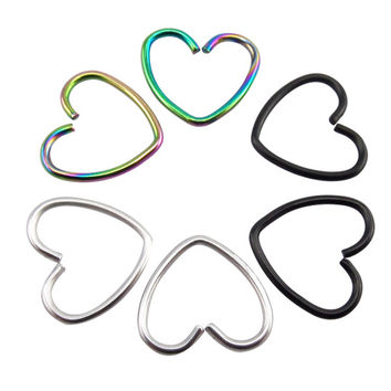 9pcs/lot 3 Color 316L Stainless Steel Titanium Heart 0.8mm Daith Piercing Rings Ear Tragus Cartilage Rook Fake Septum Ring