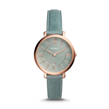 Jacqueline Three-Hand Date Sage Green Leather Watch