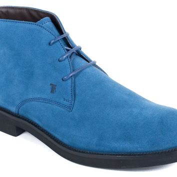 Tod's Men's Ocean Blue Suede Desert Ankle Boots