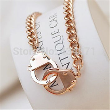 Rose Gold-ish Handcuff Necklace