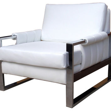 Milo Baughman Leather &  Chrome Chair