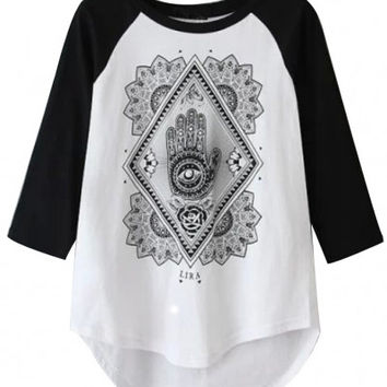 Black and White Tribal Print Top