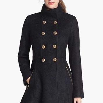 GUESS Fit & Flare Boucle Military Coat