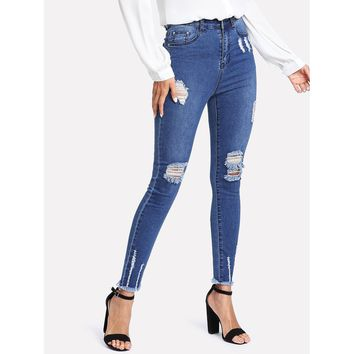 Raw Hem Ripped Denim Jeans
