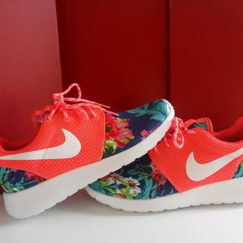 custom nike roshe run sneakers womens coral athletic shoes with fabric floral and blin
