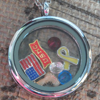 U.S. Marine Corps - Armed Services / Veterans Locket - Includes locket, charms, and FREE chain