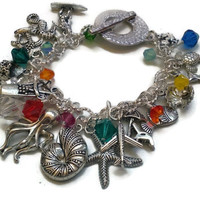 "Aloha Hawaii Charm Bracelet in Silver with Swarovski Crystals - 7.25"" - Can Customize Size - BRC079"