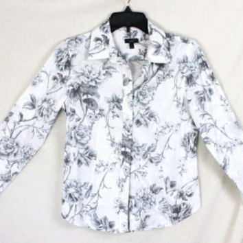 Talbots Blouse 4 size Gray White Floral Long Sleeve Womens Cotton Shirt Rose