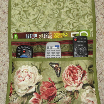 Quilted Armchair Caddy, Bedside Caddy, Remote holder, Peony Flowers