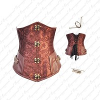 Pretty Brocade Steel Boned Steampunk Underbust with Silvery Brass Buckle Corset