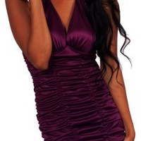Sleeveless V Neckline Ruched Fitted Cocktail Party Satin Halter Style Mini Dress