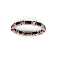 Black Onyx Baguettes and Round Diamonds Eternity Wedding Band in 14K Rose Gold
