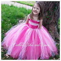 Pink lace flower girl dress, pink lace pageant dress, satin top tutu dress, flower girl tutu dress, pageant tutu dress, fluffy princess tutu
