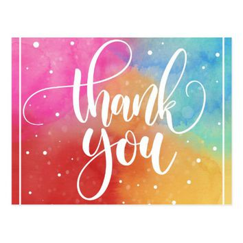 Multicolored Thank You Postcard