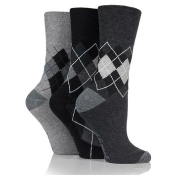 Non Binding Socks for Women in Argyle