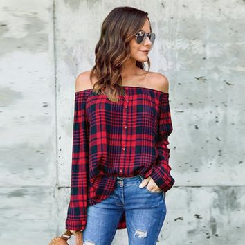 Casual Plaid Off Shoulder Long Sleeve Blouse