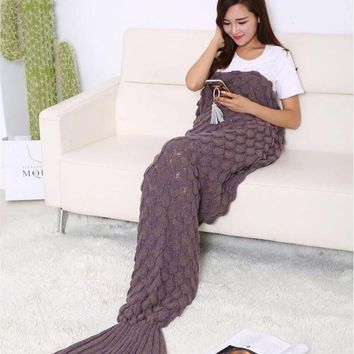 Crochet scales mermaid tail blanket Warm knitted autumn winter cute bed wrap