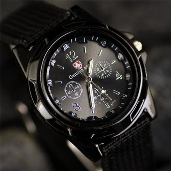 New Famous Brand Men's Casual Quartz Watch Military Canvas Strap Army Soldier Men Sports Watches Male Watches relogio masculino
