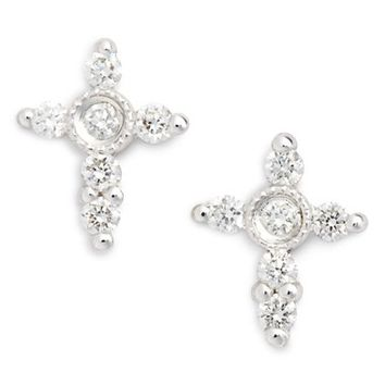 Bony Levy Simple Obsessions Diamond Cross Stud Earrings (Nordstrom Exclusive) | Nordstrom