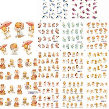 1sets 11designs New Water Decals Little Girl Cartoon Styles Nail Art Stickers Wraps Polish Care Beauty Tools LABLE1555-1565