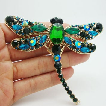 New Vintage Style Green Crystal Rhinestone Waving wings Dragonfly Bird Brooch Pin