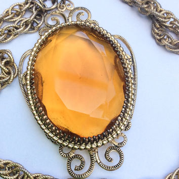 Whiting and Davis Jewelry, Amber Glass Pendant Necklace