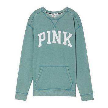 Victoria's Secret PINK Women's Fashion Letter Print Long-sleeves Pullover Tops Sweater Light green