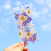 Purple Petals Case 100% Handmade Dried Flowers Cover for iPhone 7 7Plus & iPhone 6 6s Plus + Gift Box B61