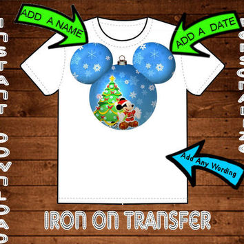 Mickey Mouse Christmas Mickey Mouse Head Ornament Disney World Printable Digital Iron On Transfer Clip Art DIY Tshirts Can Be Personalized