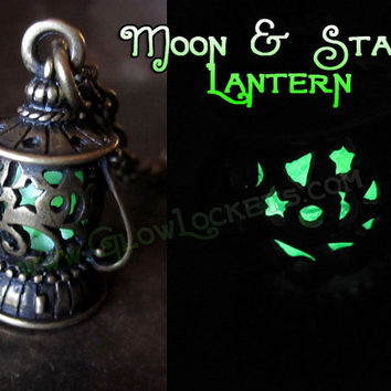 Moon and Stars Glow in the dark Lantern Necklace with pendant