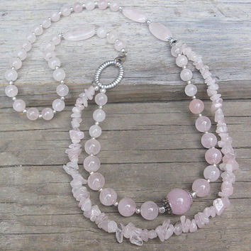 Handcrafted Rose Quartz Multilayered Necklace 27'', Handmade Natural Stone Long Statement Necklace