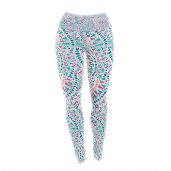 "Miranda Mol ""Kaleidoscopic White"" Aqua Abstract Yoga Leggings"
