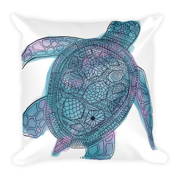 Tribal Sea Turtle Bohemian Square Pillow