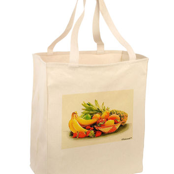 Watercolor Fruit Bowl 2 Large Grocery Tote Bag
