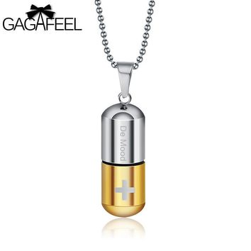 GAGAFEEL Open Capsule Pendant Necklace For Men Perfume Bottle Pill Cross Stainless Steel Bead Chain Necklace For Jewelry