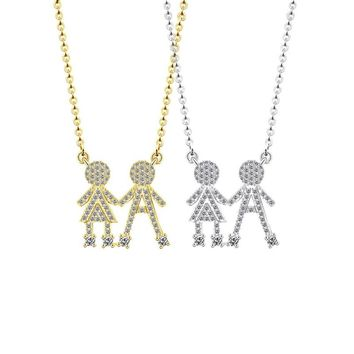 Couple Jewelry Stainless Steel Family Necklace Luxury Rhinestone Zircon Pave Crystal Cute Boy And Girl Love Pendant Necklace