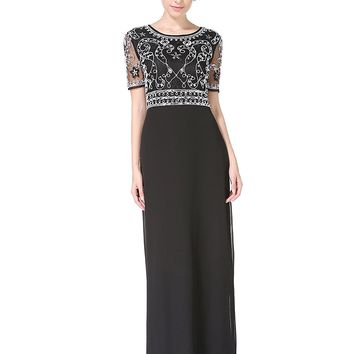 MANER Women Chiffon Beaded Embroidered Sequin Long Gowns Prom Evening Bridesmaid Dress