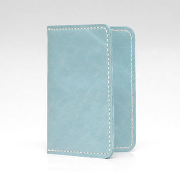 Leather Passport Cover / Passport Wallet / Personalized Passport Holder / Passport Case, Handmade Hand-stitched, Light Blue