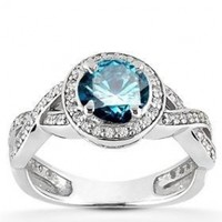 3/4ct Pave Halo Blue Diamond Engagement Ring 14K White Gold