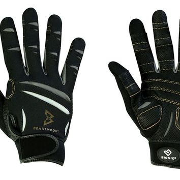 The Official Glove of Marshawn Lynch - Bionic Gloves Beast Mode Women's Full Finger Fitness/Lifting Gloves w/ Natural Fit Technology, Black (PAIR)