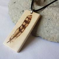 Wood Owl Feather Pendant Leather Necklace Hand Etched Feather